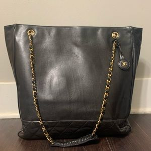 Authentic Jumbo Chanel Tote Bag Quilted Leather